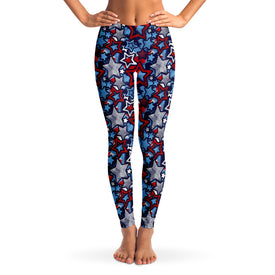 Patriotic Stars Pattern Women's Leggings Model Front