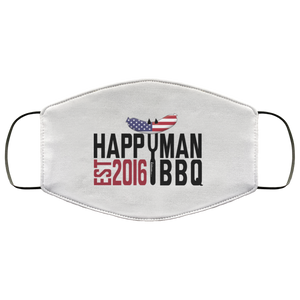 Patriotic HappyMan BBQ Face Mask in White