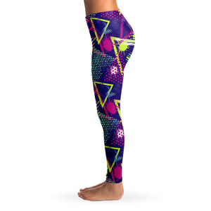 90's Retro Oldschool Women's Leggings Left Side Model