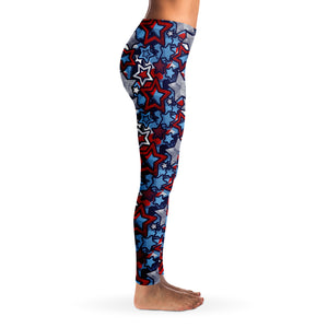Patriotic Stars Pattern Women's Leggings Model Right Side