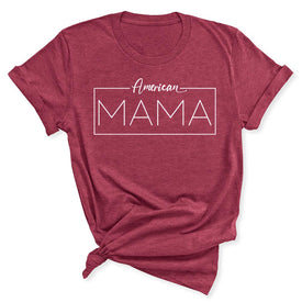 American Mama Women's T-Shirt in Heather Raspberry