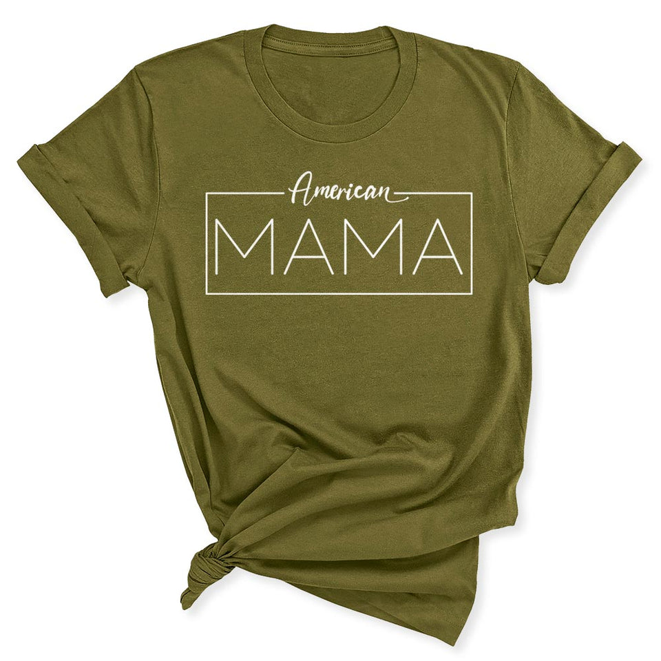 American Mama Women's T-Shirt in Olive Green