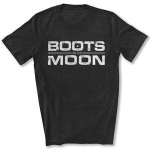Boots on the Moon Distressed T-Shirt in Black Heather