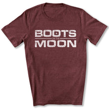 Load image into Gallery viewer, Boots on the Moon Distressed T-Shirt in Maroon