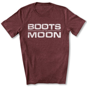 Boots on the Moon Distressed T-Shirt in Maroon