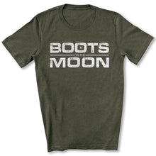 Load image into Gallery viewer, Boots on the Moon Distressed T-Shirt in Heather Military Green