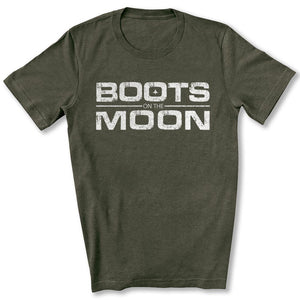 Boots on the Moon Distressed T-Shirt in Heather Military Green