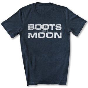 Boots on the Moon Distressed T-Shirt in Heather Navy