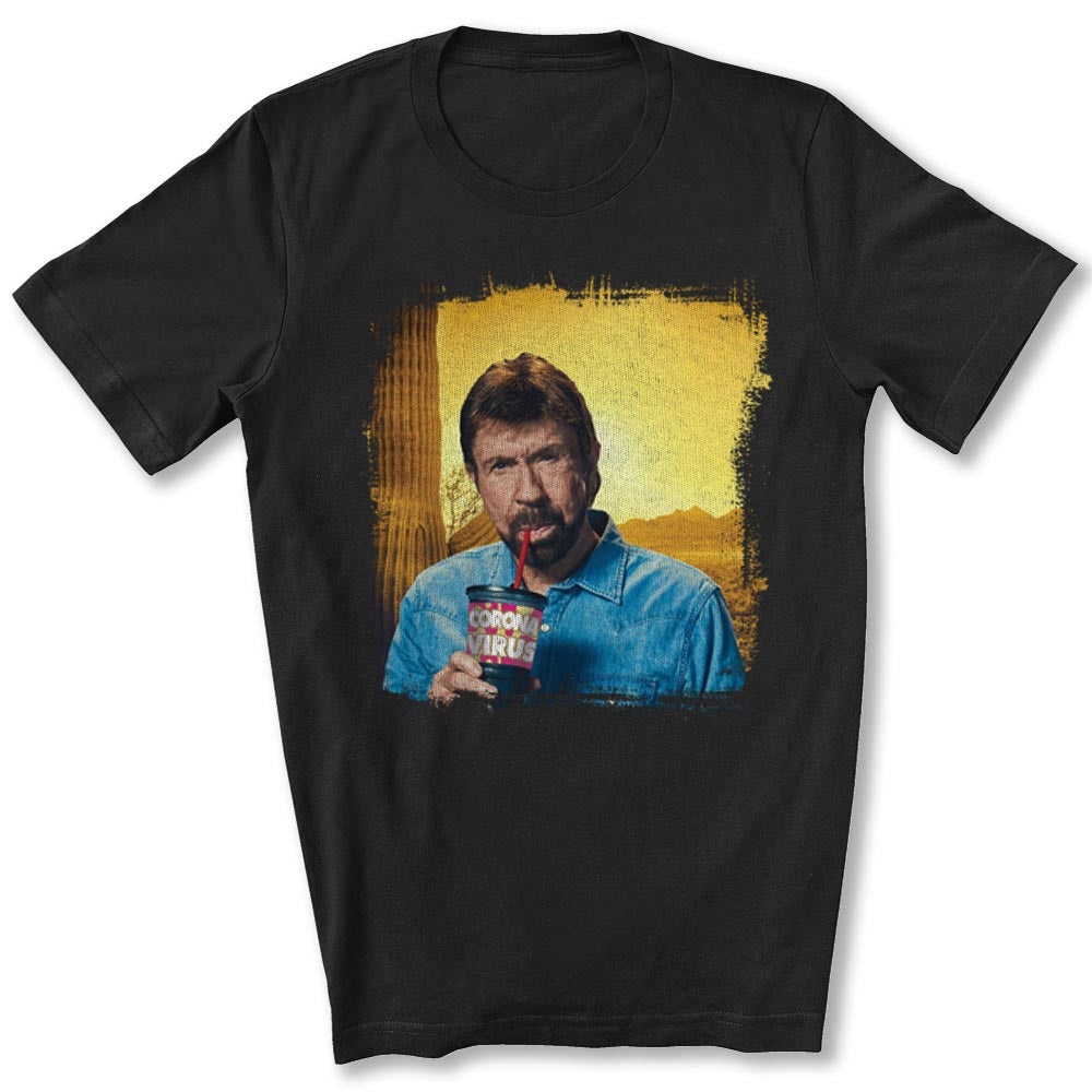Chuck Norris Drinking Coronavirus T-Shirt in Black