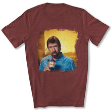 Load image into Gallery viewer, Chuck Norris Drinking Coronavirus T-Shirt in Heather Cardinal