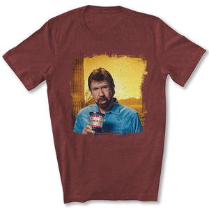 Chuck Norris Drinking Coronavirus T-Shirt in Heather Cardinal