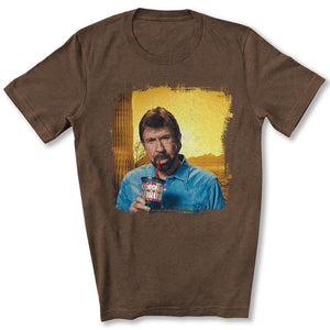 Chuck Norris Drinking Coronavirus T-Shirt in Heather Brown