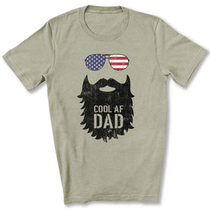 Cool AF Dad Beard T-Shirt in Heather Stone