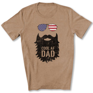 Cool AF Dad Beard T-Shirt in Heather Tan