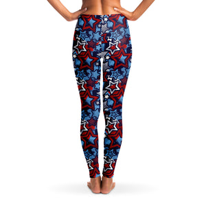 Patriotic Stars Pattern Women's Leggings Back Model