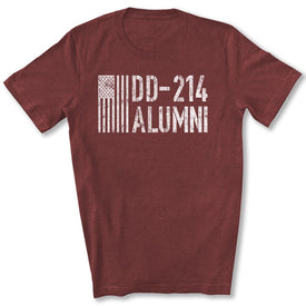 DD-214 Alumni Veteran T-Shirt in Heather Cardinal