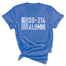 Load image into Gallery viewer, DD-214 Alumni Veteran Women's T-Shirt in Heather Columbia Blue