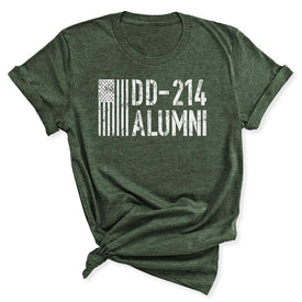 DD-214 Alumni Veteran Women's T-Shirt in Heather Military Green