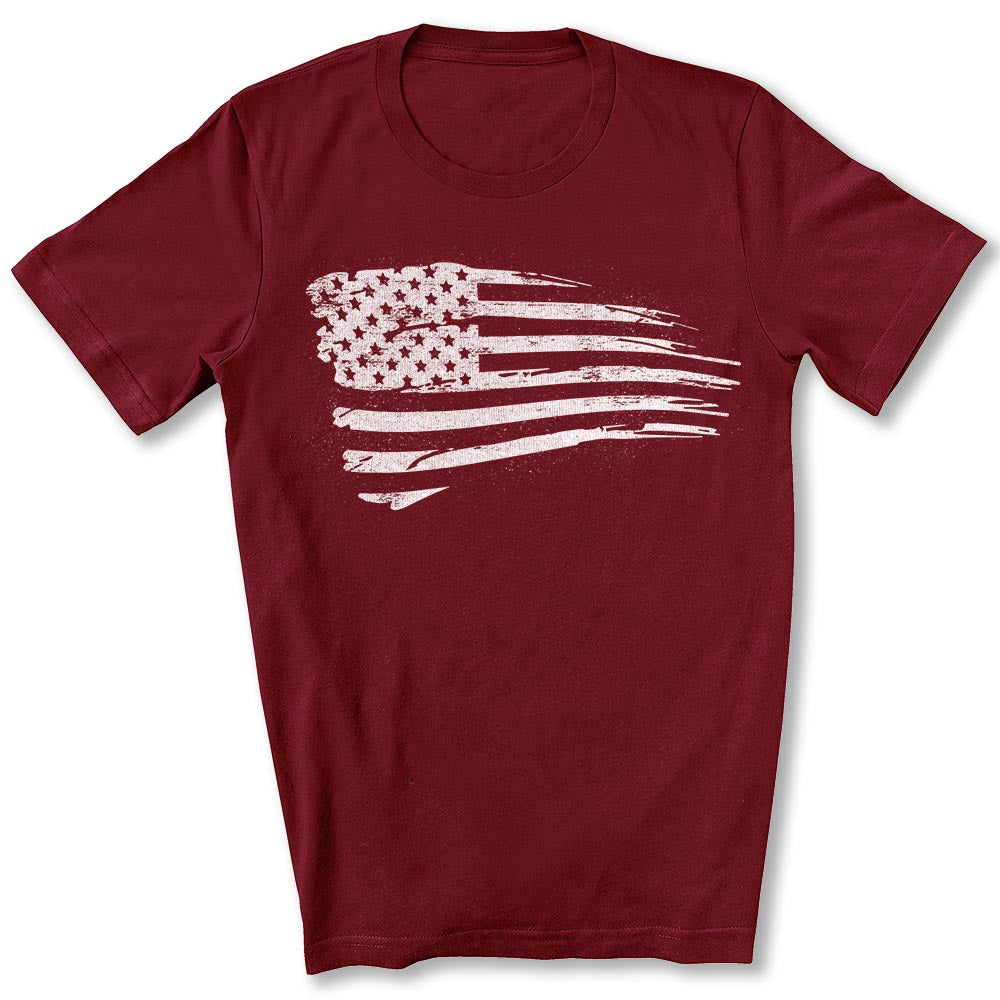 Distressed US Flag T-Shirt in Cardinal