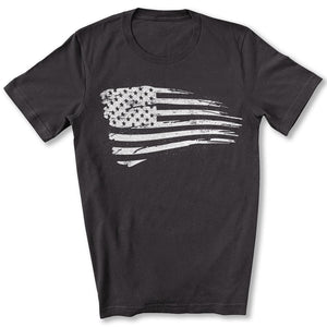 Distressed US Flag T-Shirt in Dark Gray