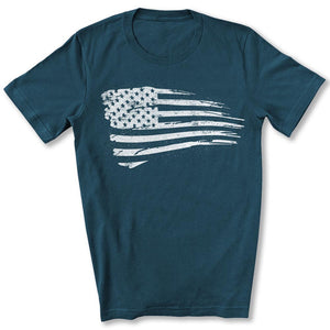 Distressed US Flag T-Shirt in Deep Teal