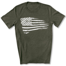 Load image into Gallery viewer, Distressed US Flag T-Shirt in Heather Military Green