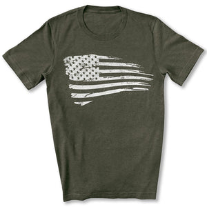 Distressed US Flag T-Shirt in Heather Military Green