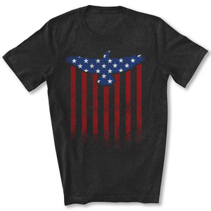 Star Spangled Eagle Flag T-Shirt in Black Heather