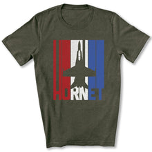 Load image into Gallery viewer, Red White and Blue F-18 Hornet T-Shirt in Heather Military Green