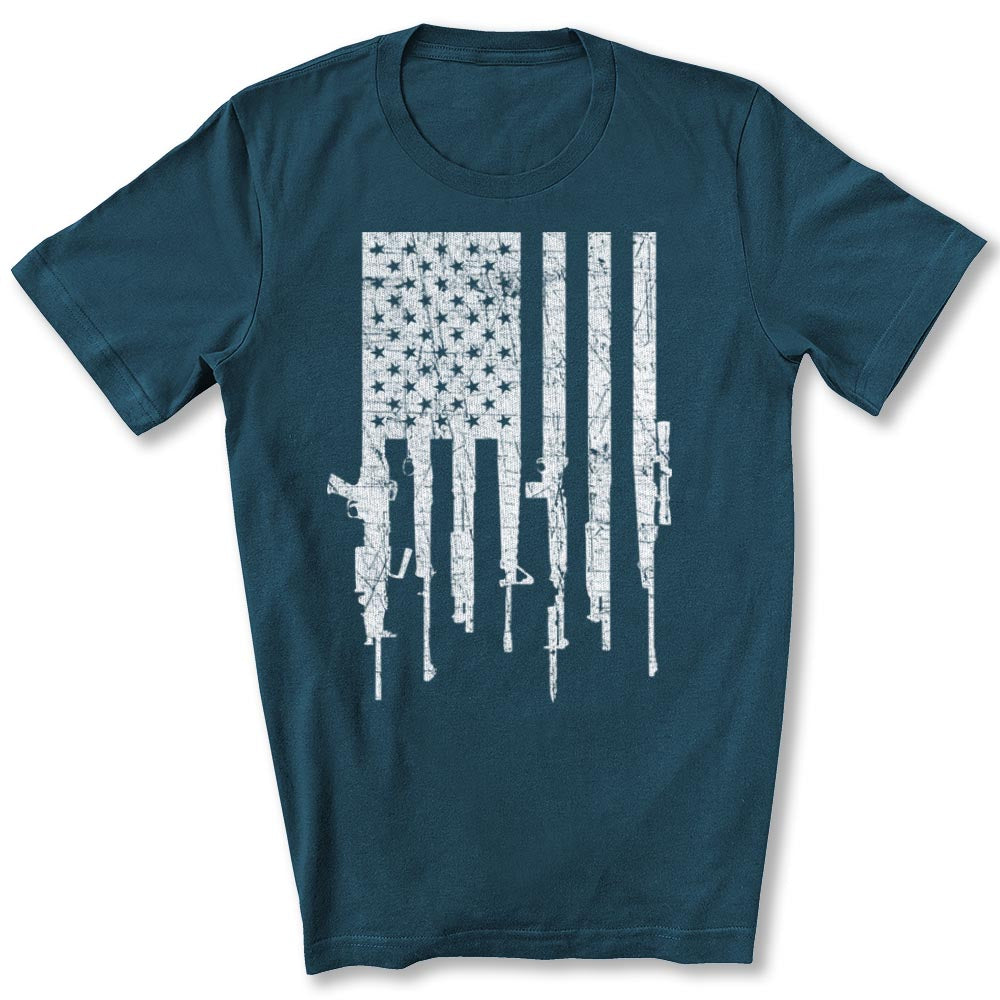 American Gun Flag T-Shirt in Deep Teal