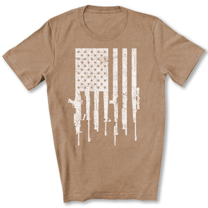 American Gun Flag T-Shirt in Heather Tan