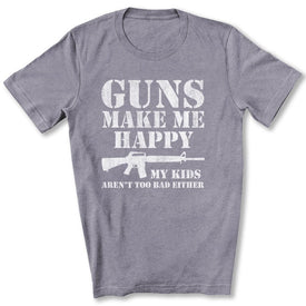 Guns Make Me Happy T-Shirt in Heather Storm