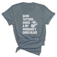 Load image into Gallery viewer, Guns & Tattoos Marine Women's T-Shirt in Heather Slate
