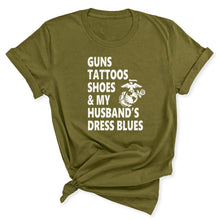 Load image into Gallery viewer, Guns & Tattoos Marine Women's T-Shirt in Olive