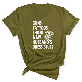 Guns & Tattoos Marine Women's T-Shirt in Olive