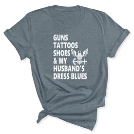 Guns & Tattoos Navy Women's T-Shirt in Heather Slate
