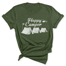 Load image into Gallery viewer, Happy Camper Women's T-Shirt in Military Green