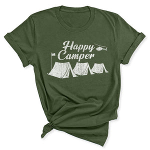 Happy Camper Women's T-Shirt in Military Green