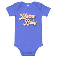 Load image into Gallery viewer, Retro Marine Baby Onesie in Heather Columbia Blue