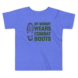 Mommy Wears Boots Toddler Tee in Heather Columbia Blue