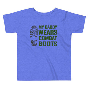 Daddy Wears Boots Toddler T-Shirt in Heather Columbia Blue