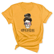 Load image into Gallery viewer, Mom Life Skull Women's T-Shirt in Gold