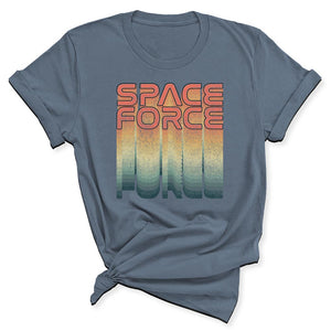 Rainbow Space Force Women's T-Shirt in Steel Blue