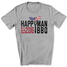 Load image into Gallery viewer, Patriotic HappyMan BBQ T-Shirt in Athletic Heather