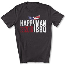 Load image into Gallery viewer, Patriotic HappyMan BBQ T-Shirt in Dark Gray