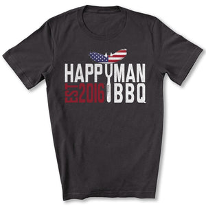 Patriotic HappyMan BBQ T-Shirt in Dark Gray