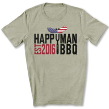 Load image into Gallery viewer, Patriotic HappyMan BBQ T-Shirt in Heather Stone
