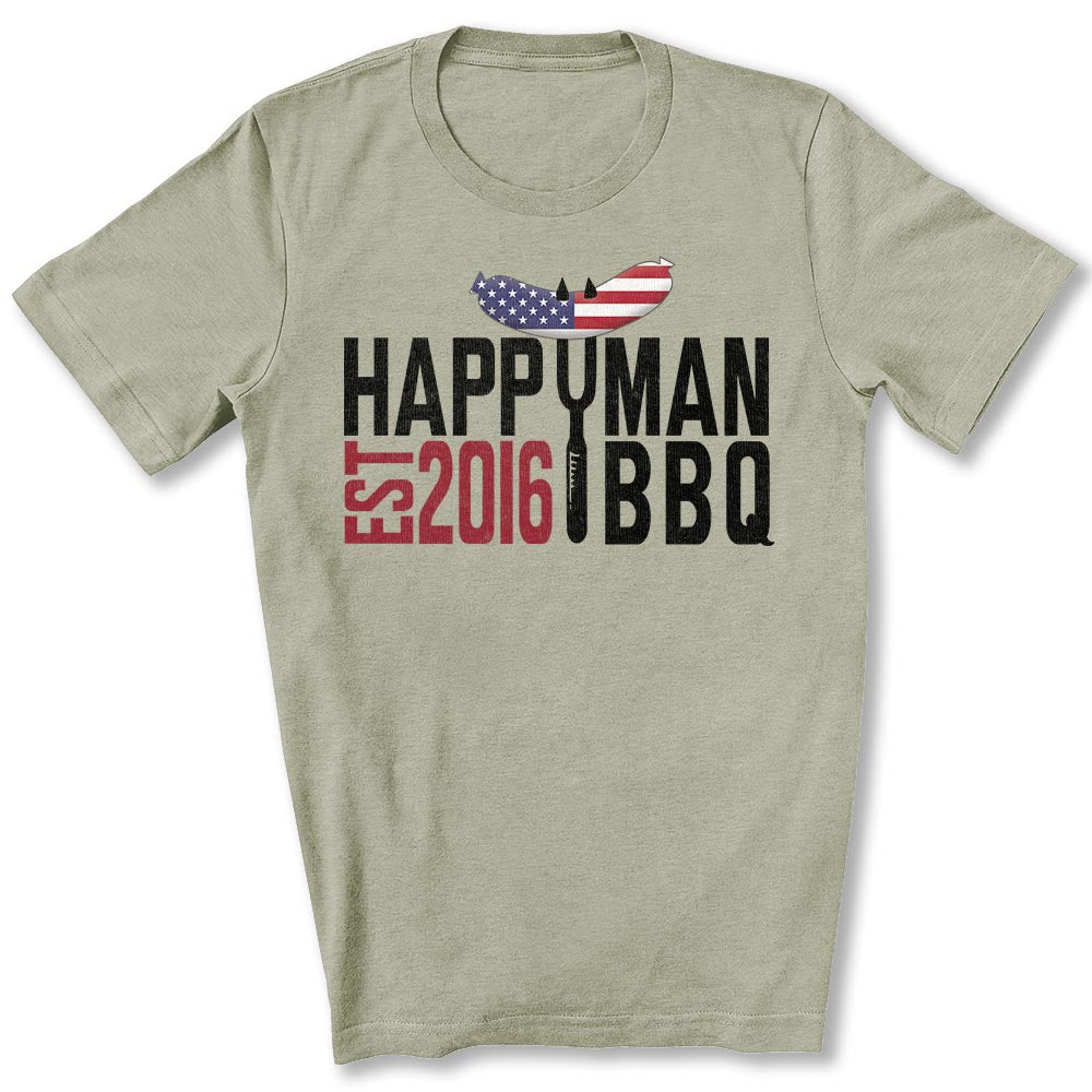 Patriotic HappyMan BBQ T-Shirt in Heather Stone