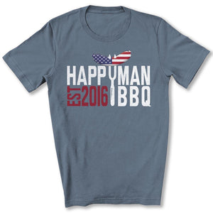 Patriotic HappyMan BBQ T-Shirt in Steel Blue