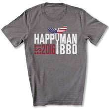 Load image into Gallery viewer, Patriotic HappyMan BBQ T-Shirt in Storm